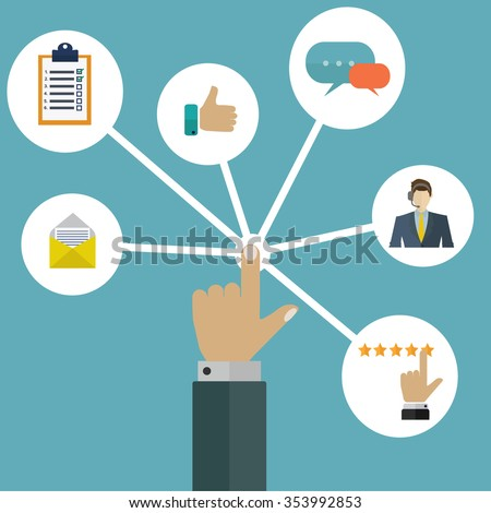 Customer/user interactions management system vector concept - stock vector