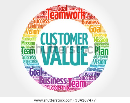 Customer Value circle stamp word cloud, business concept - stock vector