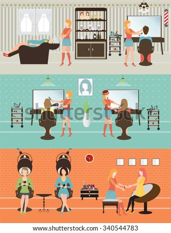 Customers in beauty salon with accessories about hair cut, people conceptual vector illustration. - stock vector