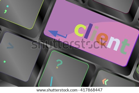 Customers Service Concept. Button on Modern Computer Keyboard with Word Clients on It vector keyboard key. keyboard button. Vector illustration - stock vector