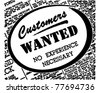 Customers Wanted - Retro Ad Art Banner - stock vector