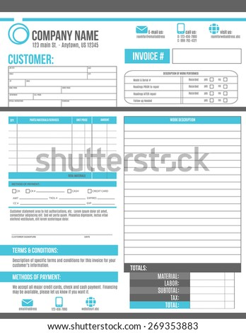 Customizable Invoice template design with room for a work order description - stock vector