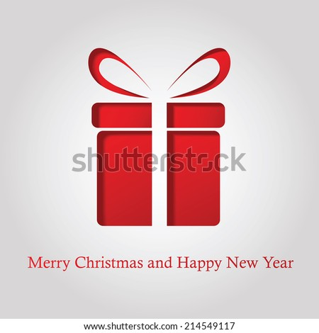 Cut out gift box card. Merry Christmas card. vector illustration - stock vector