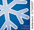 """Cut out """"Happy Holidays"""" snowflake card in vector format. - stock vector"""
