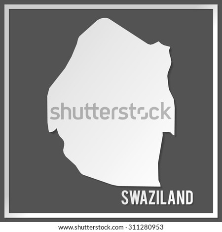 Cut out paper vector map of Swaziland on dark background. Papercut style country map. 3d vector map illustration with smooth vector shadows and white map.  - stock vector
