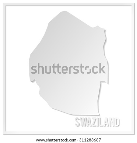 Cut out paper vector map of Swaziland. Papercut style country map. 3d vector map illustration with smooth vector shadows and white map.  - stock vector