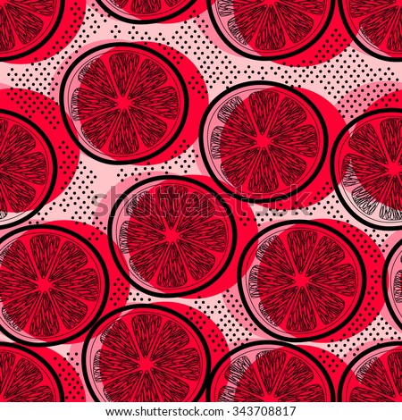 Cut pink grapefruits decorative seamless retro background pattern with contour drawing. Textile and wallpaper fruit background. Vector illustration - stock vector