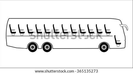 Cut through bus - stock vector