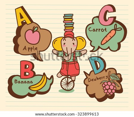 Cute A, B,C, D alphabet With Funny Apple, Banana, Carrot and Dewberry in vector. - stock vector