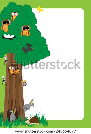 Cute, abstract frame with cheerful forest animals - stock vector