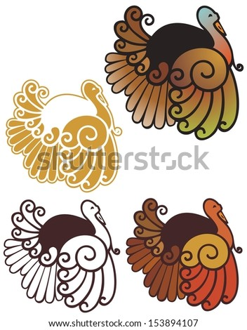 cute abstract turkey spot illustrations, in full color, non gradient, black outline, and reverse for dark backgrounds - stock vector