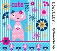 cute adorable cat vector illustration - stock vector