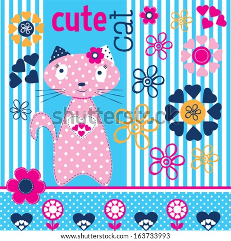 cute adorable cat vector illustration - stock vector