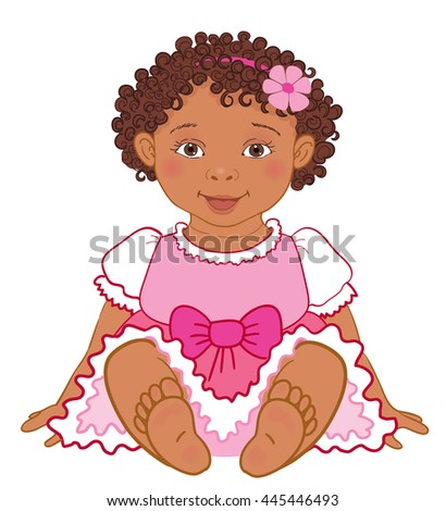 Cute African American baby girl in pink dress Happy princes Vector Illustration isolated - stock vector
