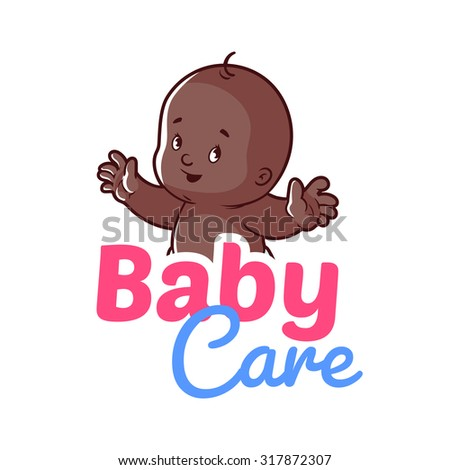 Cute African American toddler. Vector illustration on a white background. Baby care logo - stock vector