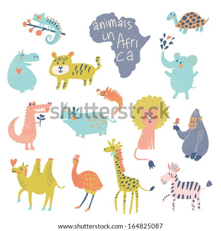 Cute african animals: iguana, turtle, elephant, tiger, hippopotamus, crocodile, rhinoceros, lion, gorilla, camel, ostrich, giraffe, zebra in vector. Cartoon animals in bright colors. Childish set - stock vector