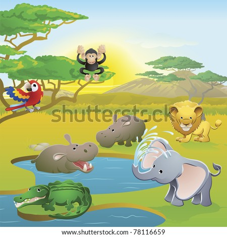 Cute African safari animal cartoon characters scene. Series of three illustrations that can be used separately or side by side to form panoramic landscape. - stock vector