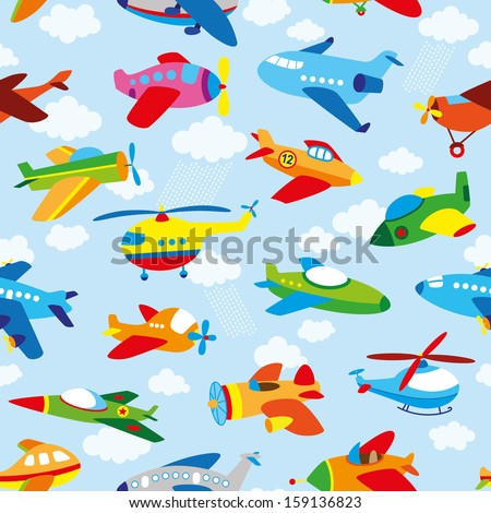 cute airplane's seamless pattern - stock vector