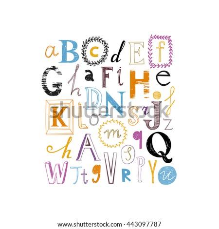 Cute alphabet design. Set of varied letters. Color version. - stock vector
