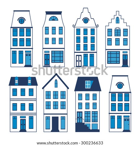 Cute Amsterdam houses colorful set. Vector illustration - stock vector