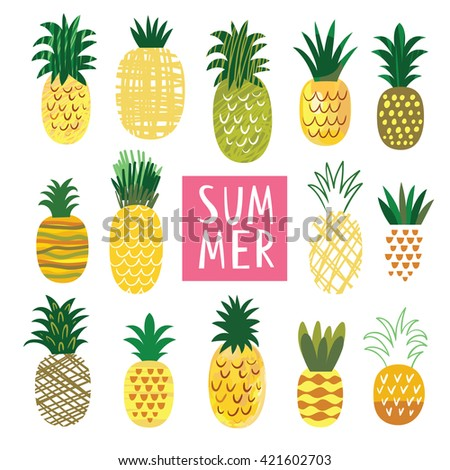 Cute Ananas Collection, vector illustrations - stock vector