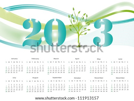 Cute and abstract calendar on New Year 2013 - stock vector