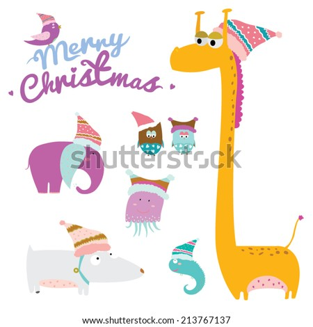 Cute and cartoon vector childish animals in knitted caps ready to celebrate Christmas and New Year on white background. - stock vector