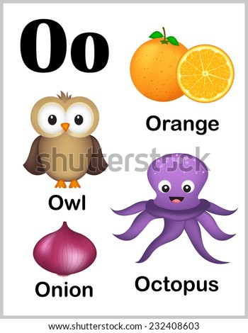 Cute and colorful alphabet letter O with set of illustrations and words printable sheet.  - stock vector