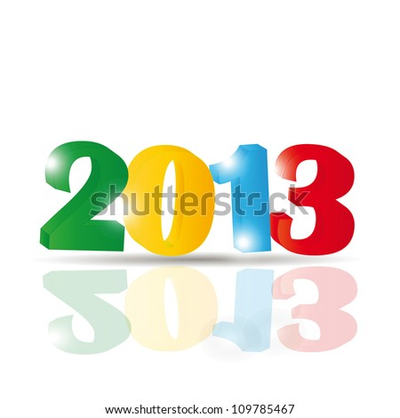 Cute and colorful card on New Year 2013 - stock vector