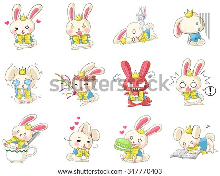 Cute and funny cartoon rabbit character mascot with costume in various action and expression icon collection set in Japanese manga style, create by vector.  - stock vector