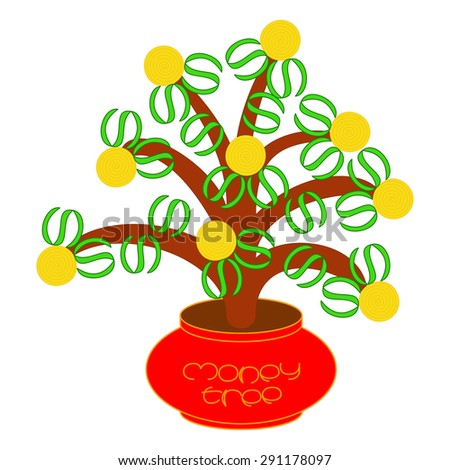Cute and funny illustration with plant grows in a red pot. It symbolizes money tree with coins as fruits and dollar signs as leaves. On the white fond. Vector illustration eps 10 - stock vector