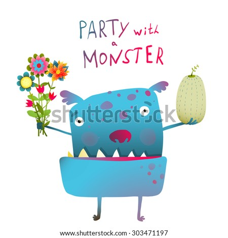 Cute and Funny Monster with Bunch of Flowers Fruit Congratulating. Colorful hand drawn illustration for kids of cute ugly kind creature. Vector drawing. - stock vector