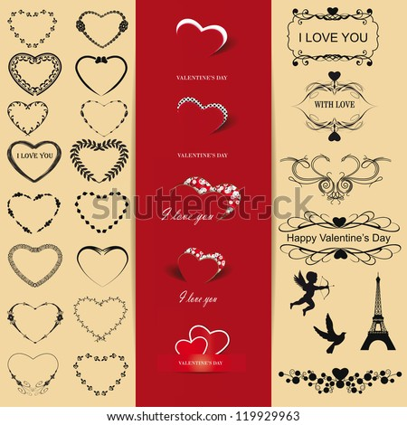 Cute and many elements you can use on Valentine's day - stock vector