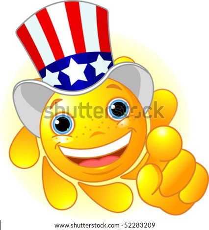 Cute and shiny Sun with Uncle Sam hat pointing to us - stock vector