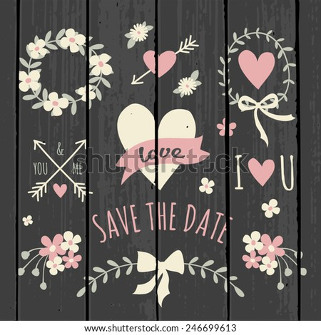 Cute and stylish floral design elements for Valentine's Day/ wedding/engagement on a gray wood background. - stock vector