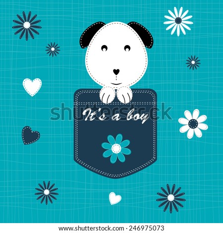 Cute and sweet baby card on birthday or shower - stock vector