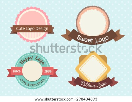 cute and sweet pastel vintage premium logo or label template set - stock vector