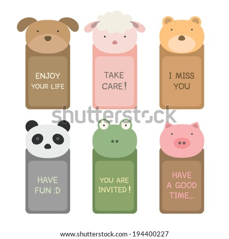 Cute Animal Faces with text frame and good words - stock vector