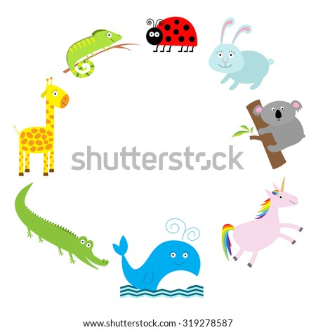 Cute animal frame. Baby background. Ladybug, koala, whale, rabbit, unicorn, alligator, giraffe and iguana. Flat design Vector illustration - stock vector