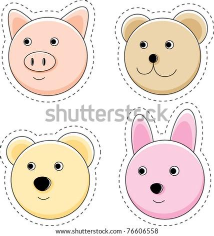 Cute animal head design series - stock vector