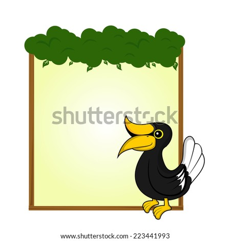 cute animal hornbill blank sign and symbol vector - stock vector