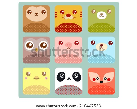 Cute animal icons - stock vector