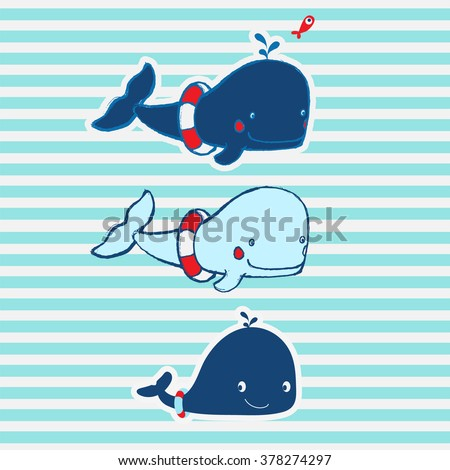 Cute Animal illustration with slogan. Print design idea for jersey fabrics. Vector design for your projects. Artwork idea for baby products. - stock vector