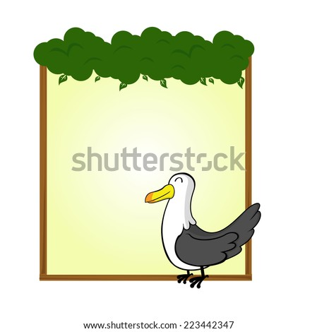 cute animal seagull blank sign and symbol vector - stock vector