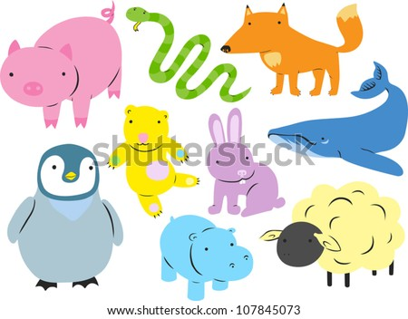Cute Animal Set - stock vector