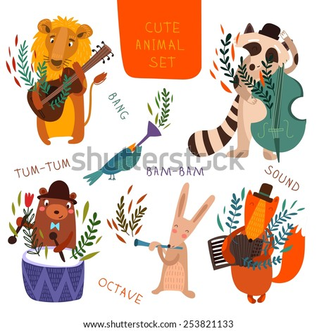 Cute animal set.Cartoon animals playing on various musical instruments.Lion, bear, raccoon, fox, bird, rabbit in vector  - stock vector