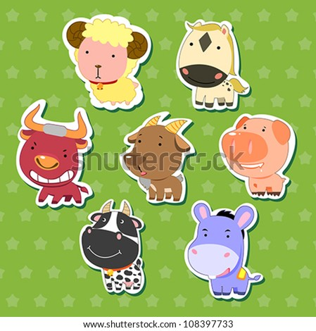 cute animal stickers with sheep, bull, goat, dairy cattle, donkey, pig, and horse. - stock vector