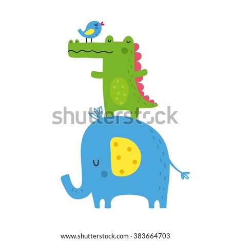 cute animal vector print for kids - stock vector