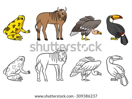 Cute animals collection. Vector illustration. - stock vector