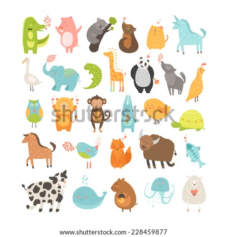 Cute animals collection. Vector pig, rabbit, monkey, lion, sheep, bird,goose, panda, koala, chicken, fox, cow, jellyfish, cat, hen, dog, fox, elephant, crocodile, unicorn, giraffe, owl, turtle, horse - stock vector